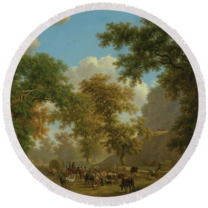 Nature Round Beach Towel featuring the painting Shore, Pierre-louis Geneva 1753 - 1817 Presinge Lively And Large Trough Path At The Foot Of Cliffs by Shore Pierre Louis