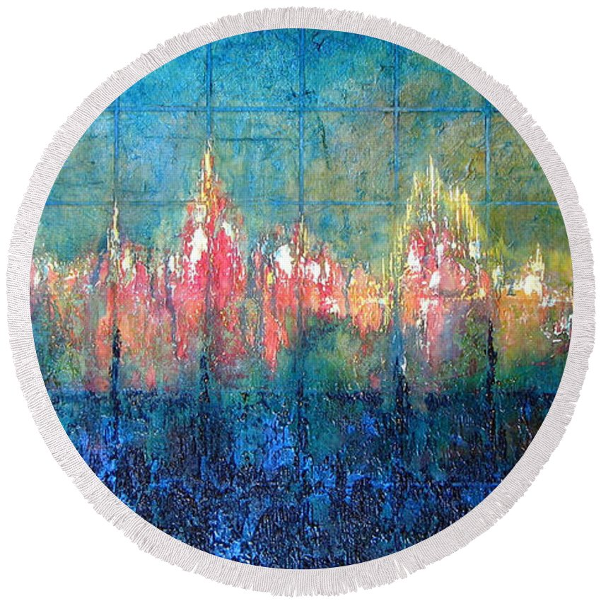 Seascape Round Beach Towel featuring the painting Shorebound by Shadia Derbyshire