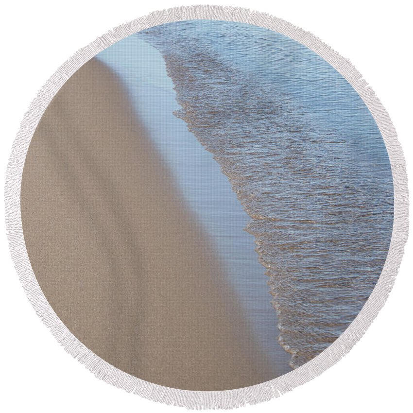 Shoreline Round Beach Towel featuring the photograph Shoreline Meditation by Barbara McMahon