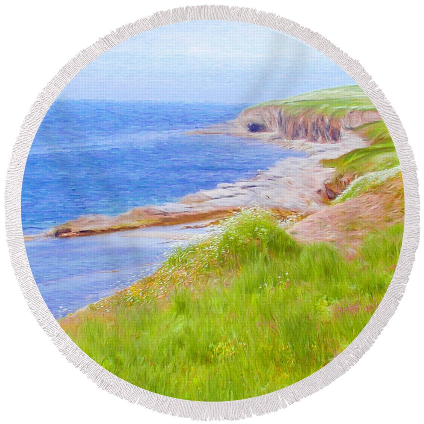 Canadian Round Beach Towel featuring the painting Shores Of Newfoundland by Jeffrey Kolker