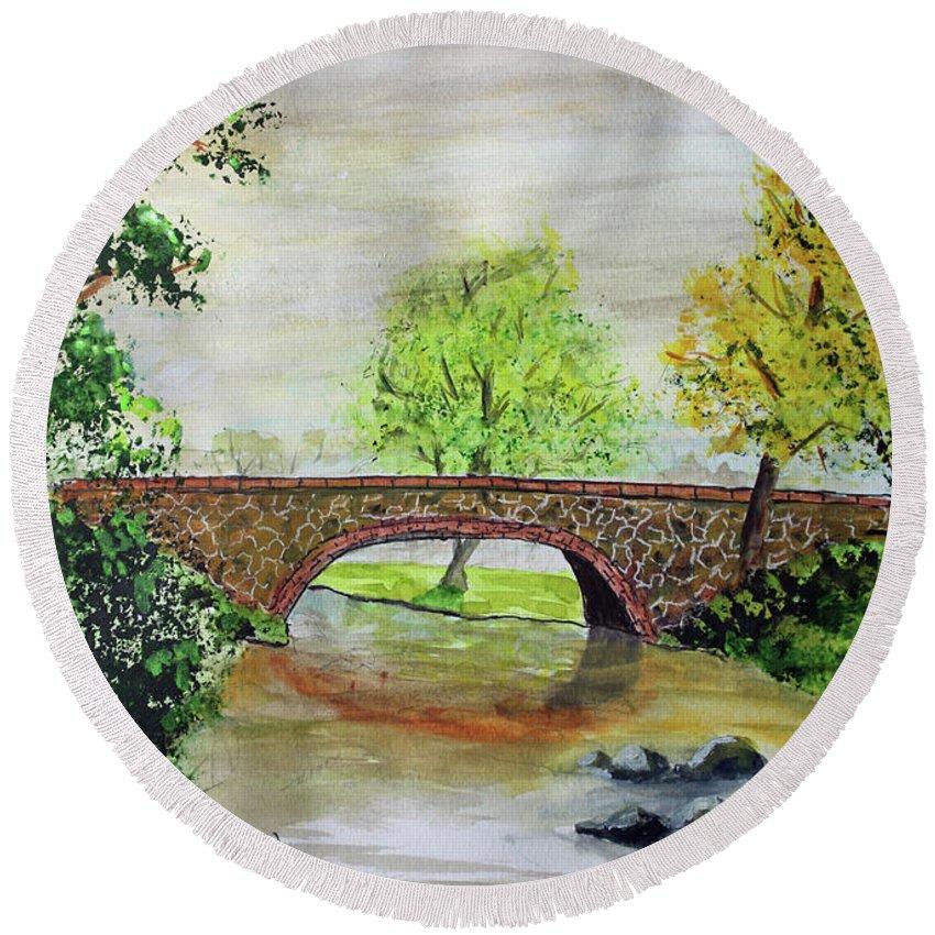 Jackbrauer Round Beach Towel featuring the painting Shortcut Bridge by Jack G Brauer