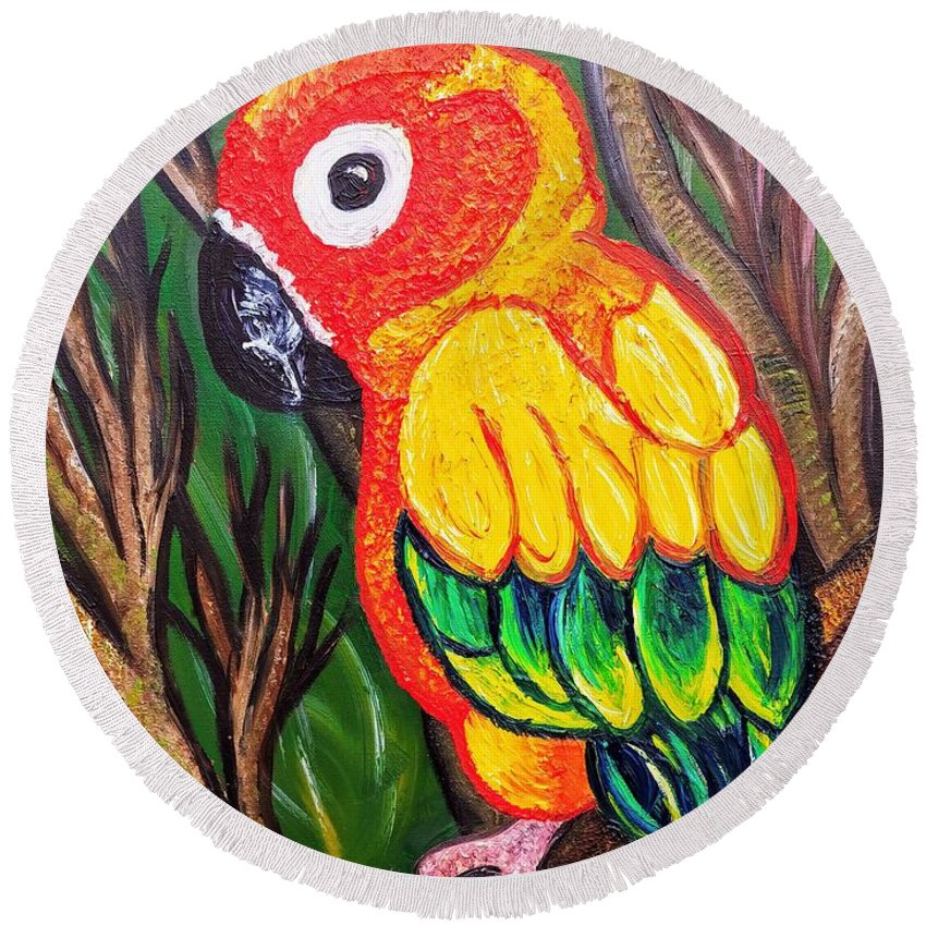 Sun Conure Round Beach Towel featuring the painting Shorty by Elizabeth Goodermote