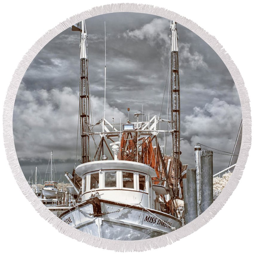 Infrared Round Beach Towel featuring the photograph Shrimper In Eastern North Carolina by Cindy Archbell