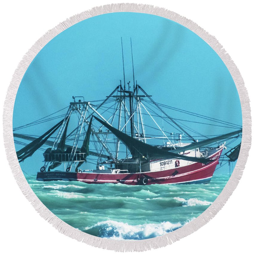 Shrimping Round Beach Towel featuring the photograph Shrimping On A Windy Day In Key West by Bob Slitzan
