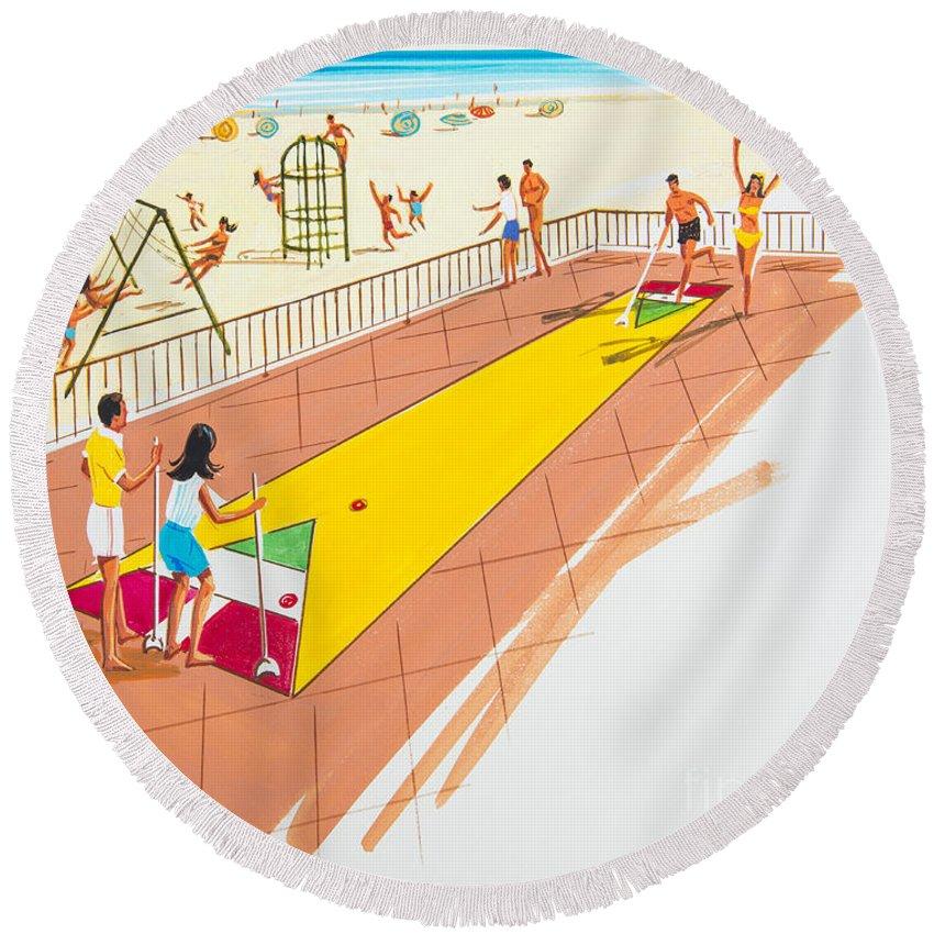 Shuffleboard Round Beach Towel featuring the drawing Retro Shuffleboard Art From The 1960's by Retro Views