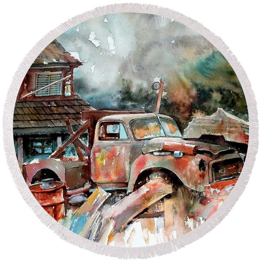 Truck Round Beach Towel featuring the painting Shuttered And Cluttered And Gone by Ron Morrison