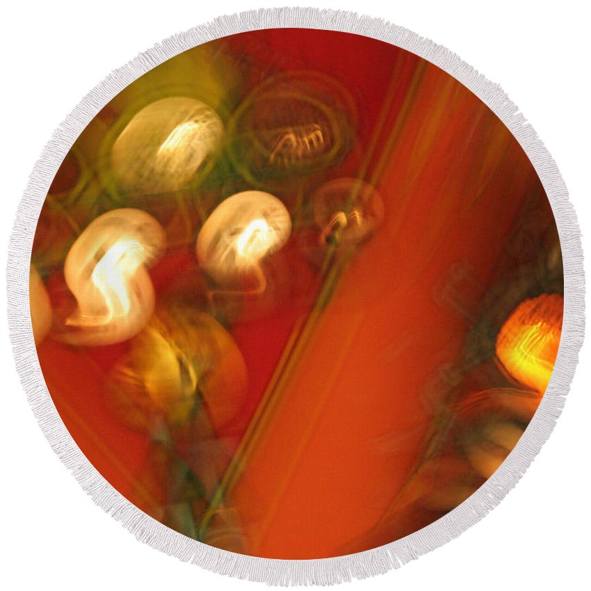 Abstract Round Beach Towel featuring the photograph Shwiggle by Ric Bascobert