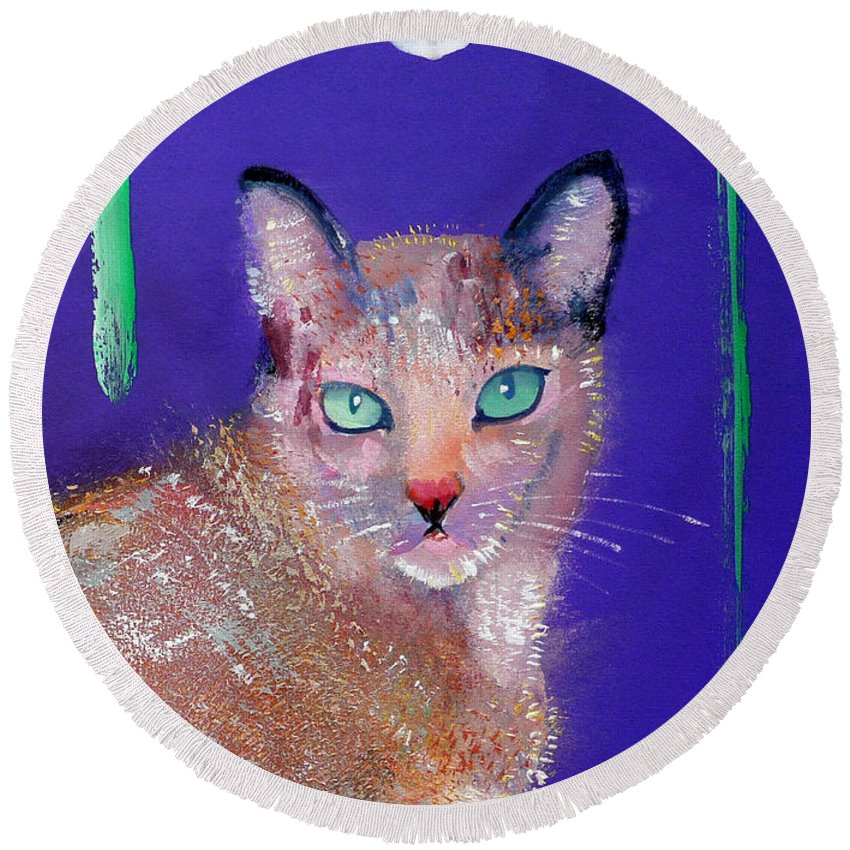 Cat Round Beach Towel featuring the painting Siamese Cat by Charles Stuart