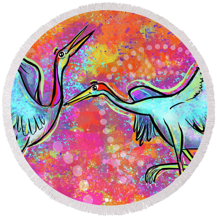 Elephant Round Beach Towel featuring the digital art Siberian Cranes by Morgan Richardson