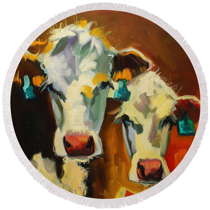 Cow Round Beach Towel featuring the painting Sibling Cows by Diane Whitehead
