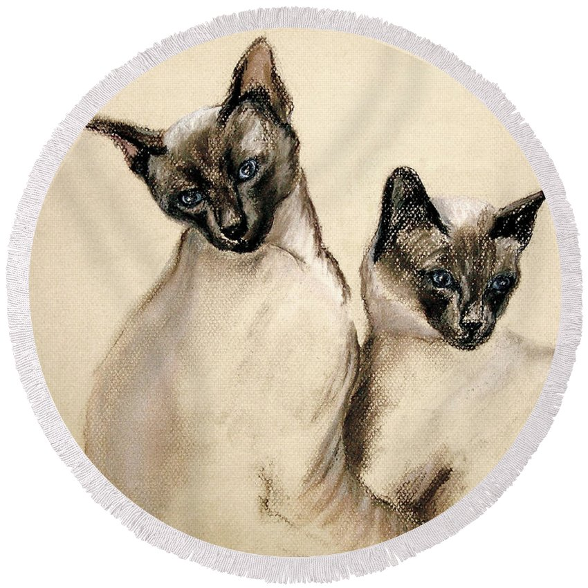 Cat Round Beach Towel featuring the drawing Sibling Love by Cori Solomon