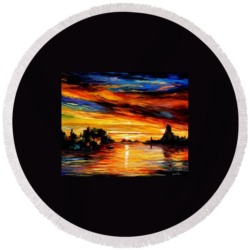 Afremov Round Beach Towel featuring the painting Sicily - Catania by Leonid Afremov