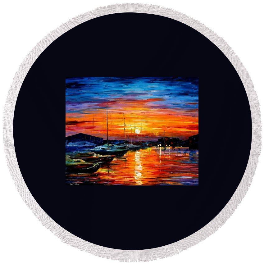 Afremov Round Beach Towel featuring the painting Sicily - Harbor Of Syracuse by Leonid Afremov