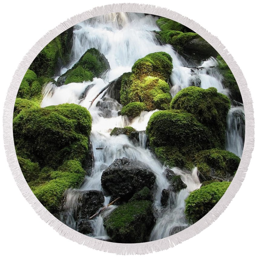 Green Round Beach Towel featuring the photograph Side Of Clearwater Falls by Teri Schuster