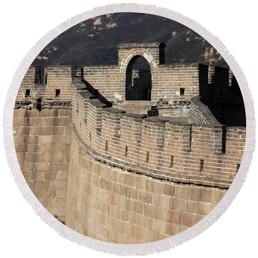 The Great Wall Of China Round Beach Towel featuring the photograph Side View Of The Great Wall by Carol Groenen