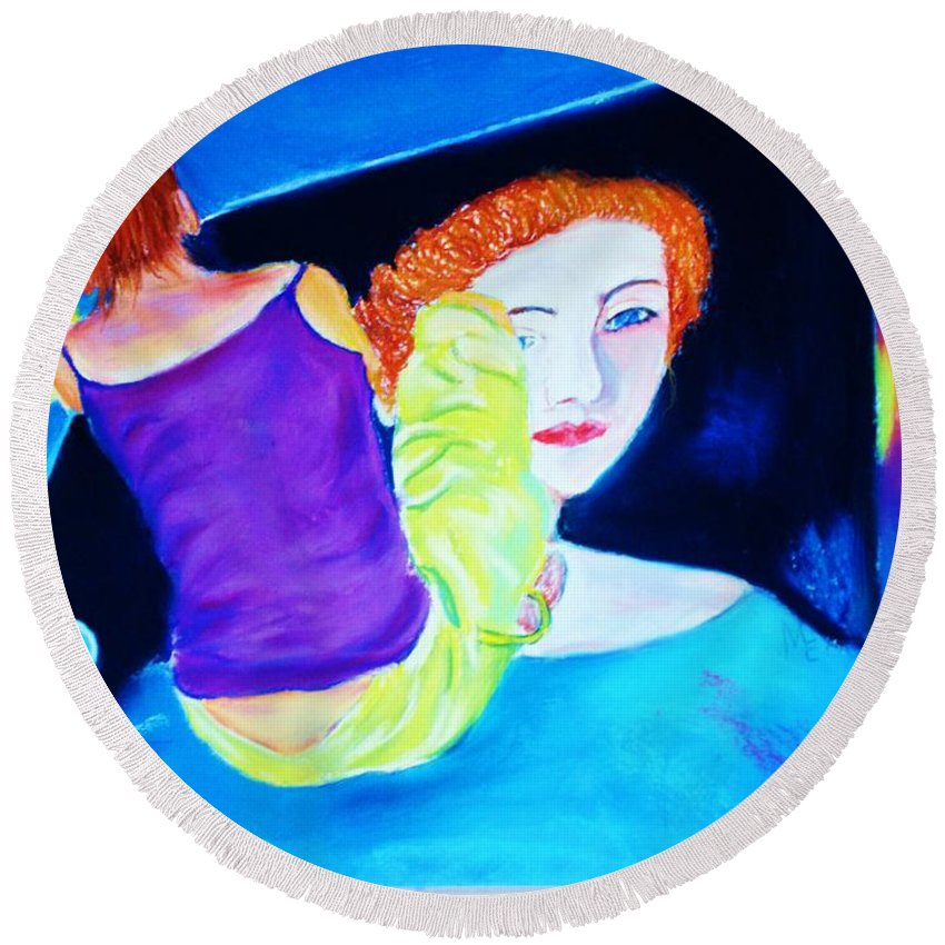 Painting Within A Painting Round Beach Towel featuring the print Sidewalk Artist II by Melinda Etzold