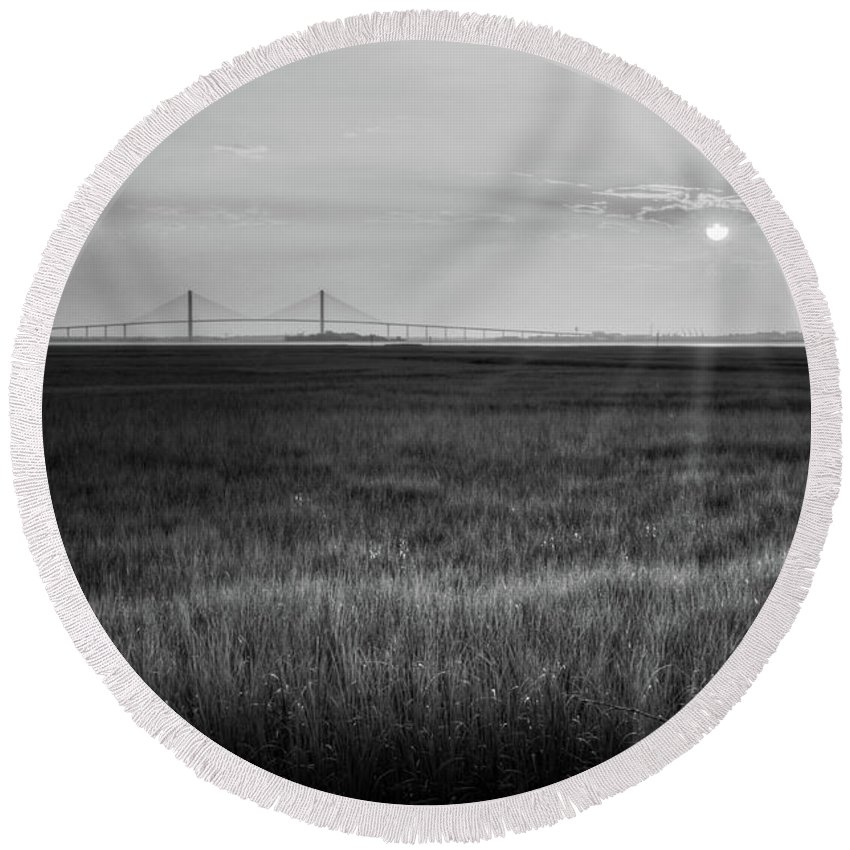 Sidney Lanier Bridge Round Beach Towel featuring the photograph Sidney Lanier At Sunset In Black And White by Greg Mimbs