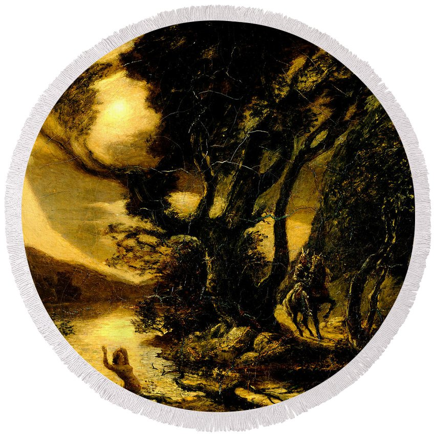Albert Round Beach Towel featuring the painting Siegfried And The Rhine Maidens by Albert Pinkham Ryder