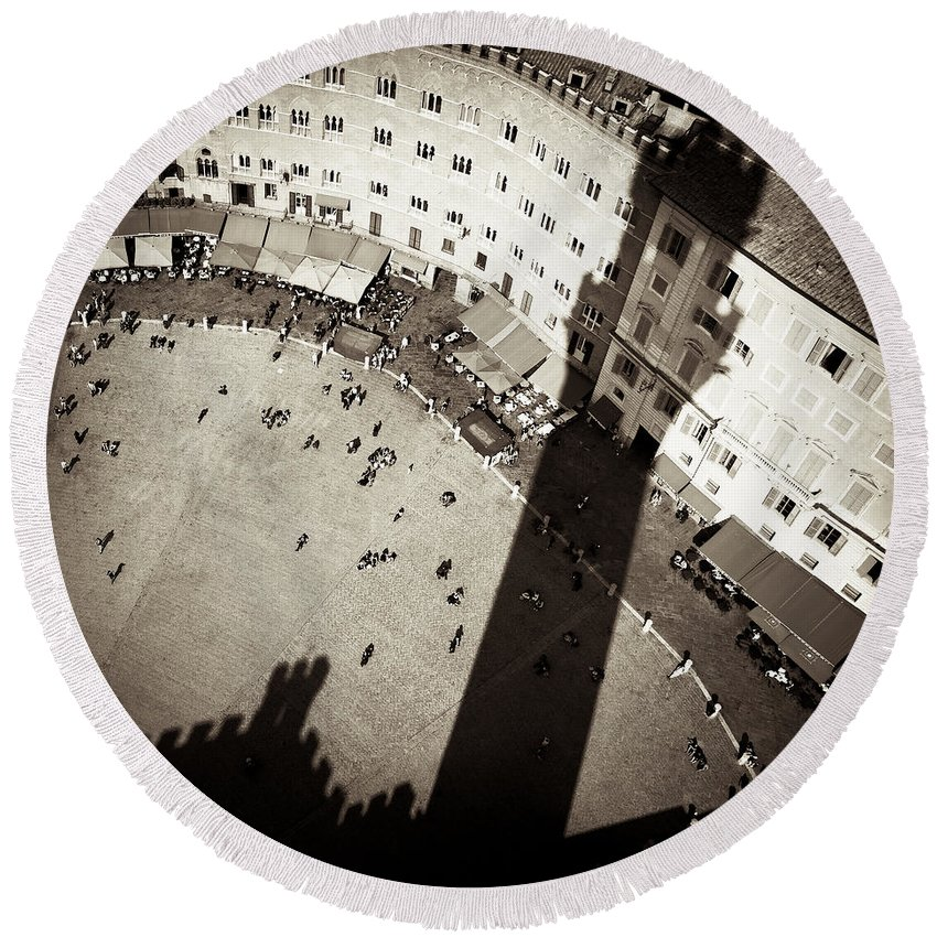 Siena Round Beach Towel featuring the photograph Siena From Above by Dave Bowman
