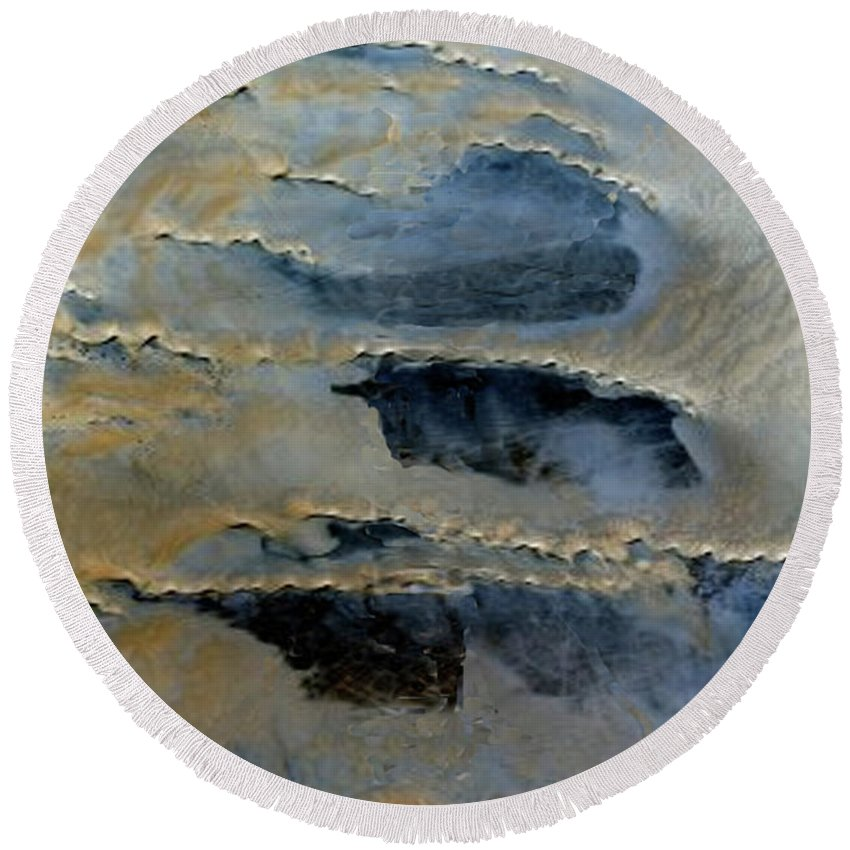 Contemporary Art Round Beach Towel featuring the painting Sienna And Whales From Above by Todd Krasovetz