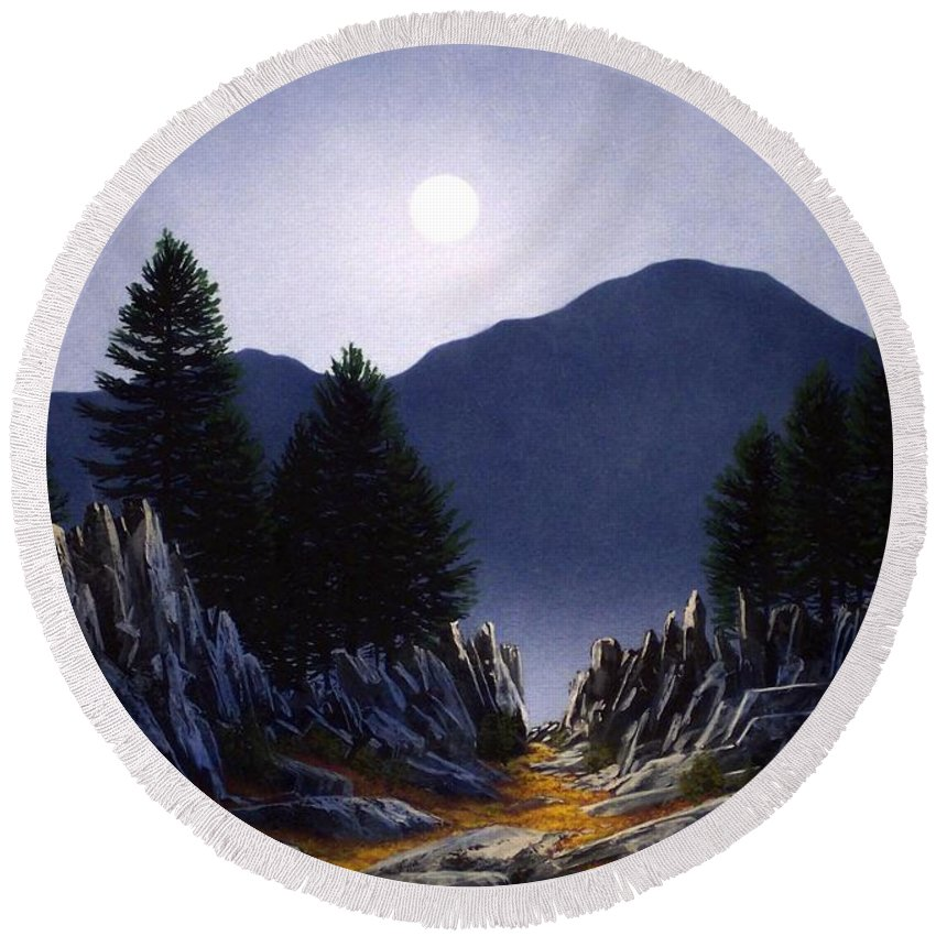 Mountains Round Beach Towel featuring the painting Sierra Moonrise by Frank Wilson