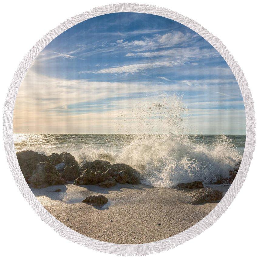 Sea Round Beach Towel featuring the photograph Siesta Key Splash by Ronald Kotinsky