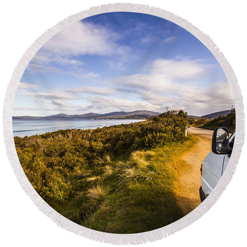 Tourism Round Beach Towel featuring the photograph Sightseeing Southern Tasmania by Jorgo Photography - Wall Art Gallery