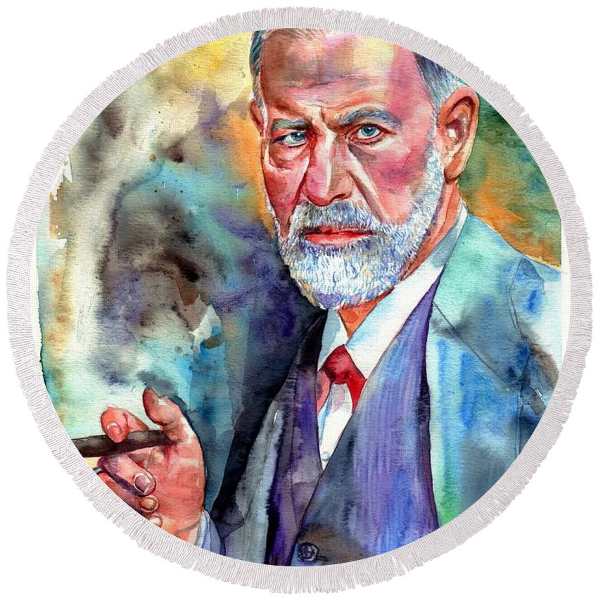 Sigmund Round Beach Towel featuring the painting Sigmund Freud Painting by Suzann Sines