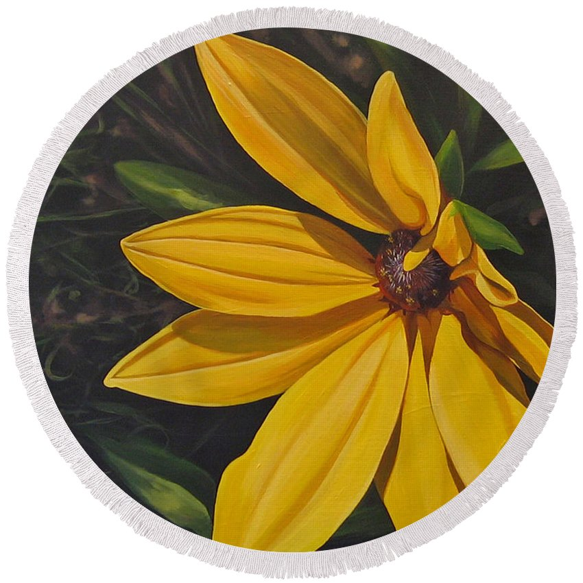 Wildflower Round Beach Towel featuring the painting Sign of Summer by Hunter Jay