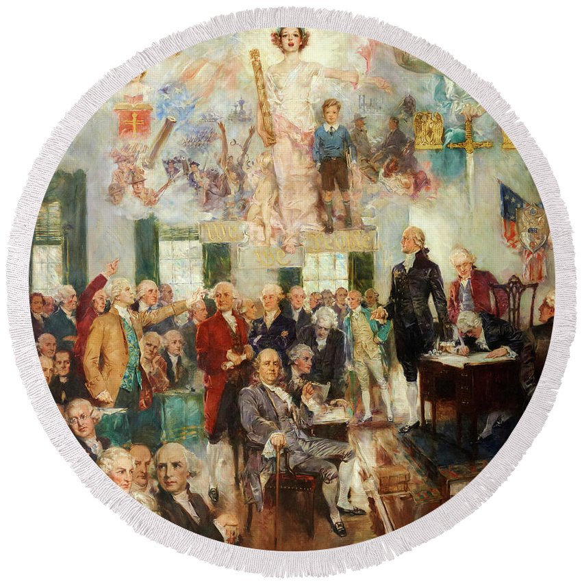 Constitution Round Beach Towel featuring the painting Signing Of The Constitution by Howard Chandler Christy