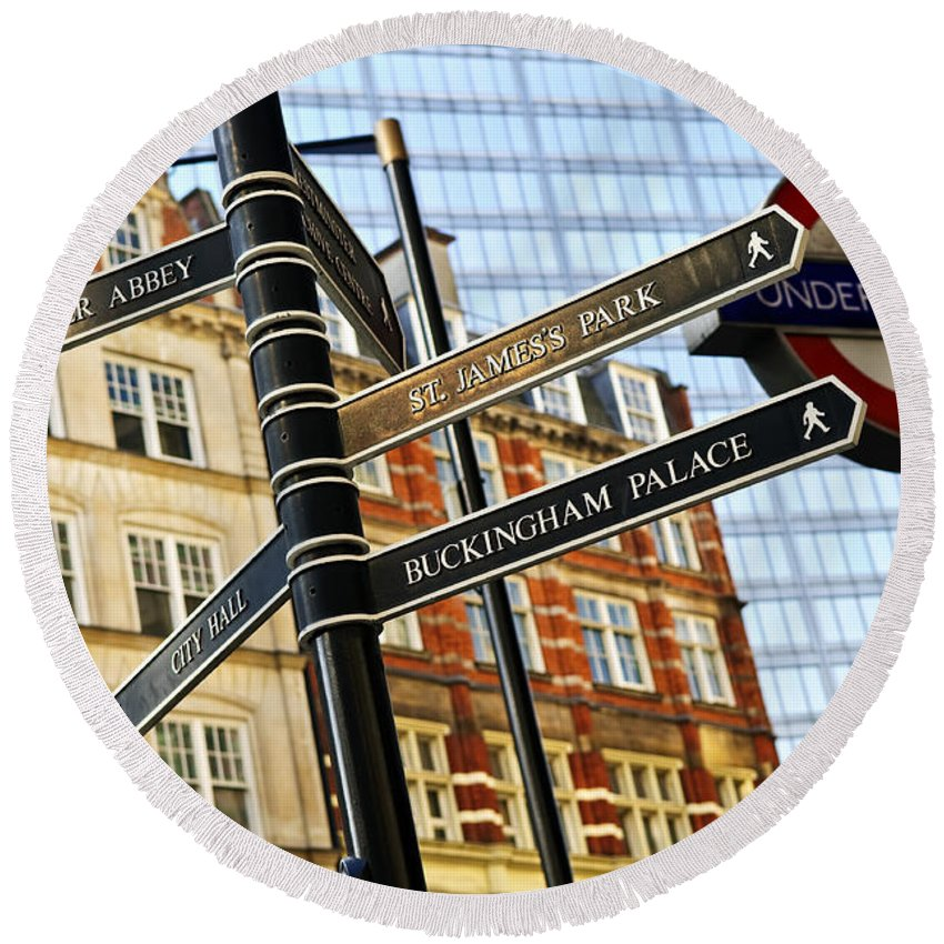 London Round Beach Towel featuring the photograph Signpost In London by Elena Elisseeva