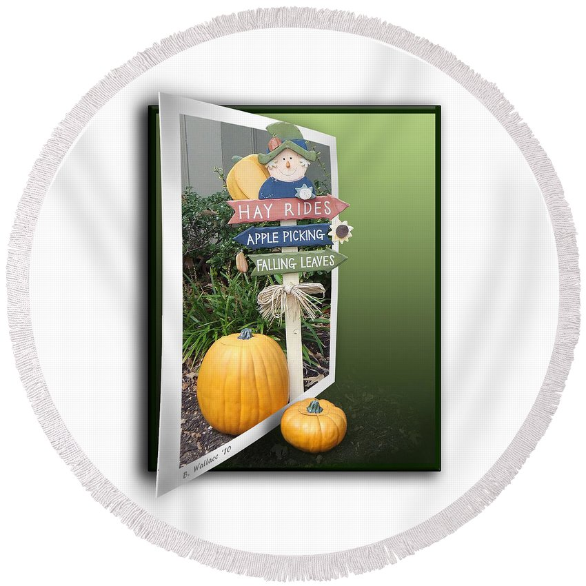 2d Round Beach Towel featuring the photograph Signs Of Halloween by Brian Wallace