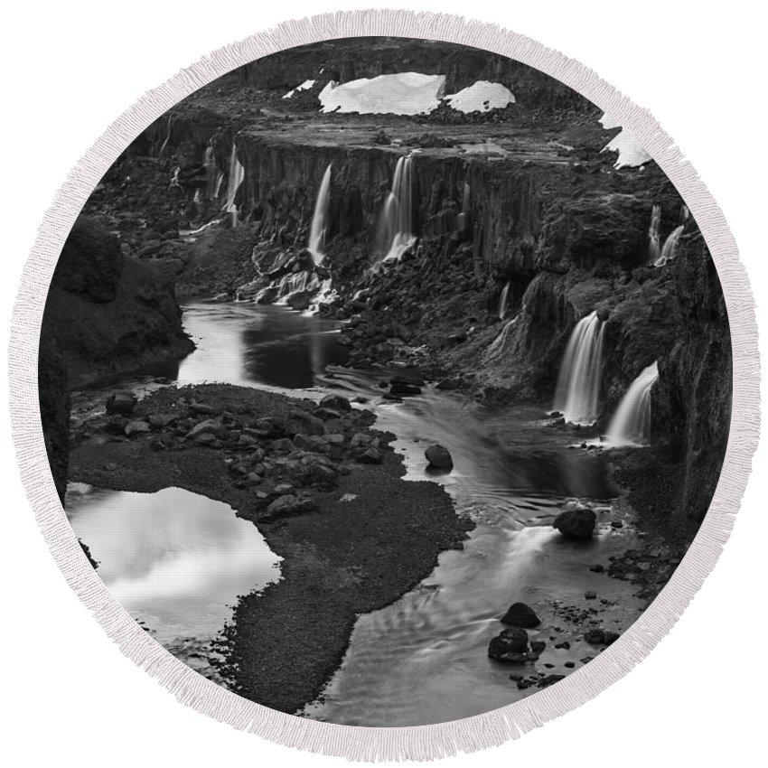 Sigoldufoss Round Beach Towel featuring the photograph Sigoldufoss Waterfalls Iceland 1294 by Bob Neiman
