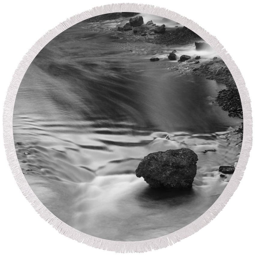 Sigoldufoss Round Beach Towel featuring the photograph Sigoldufoss Waterfalls Iceland 1315 by Bob Neiman