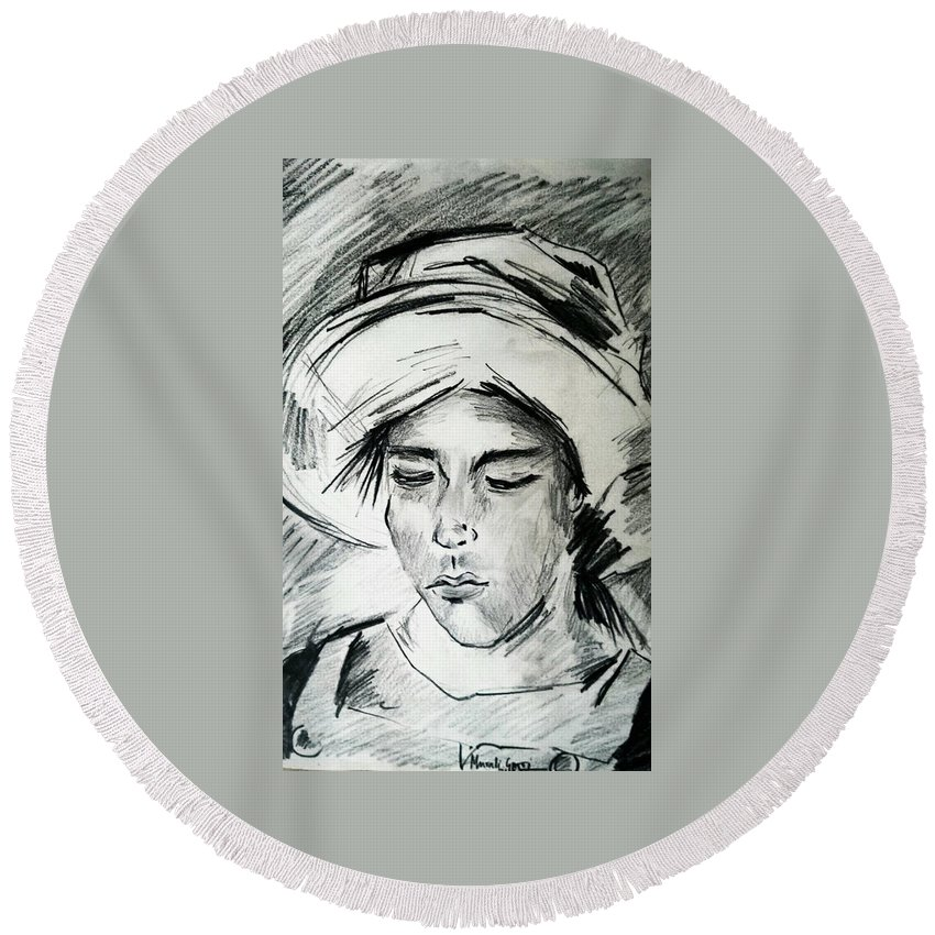 Portrait Round Beach Towel featuring the drawing Silence by Murali Gatti
