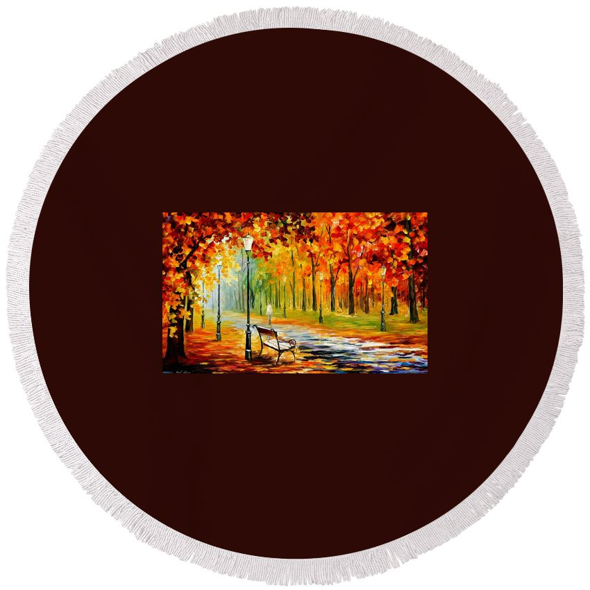 Afremov Round Beach Towel featuring the painting Silence Of The Fall by Leonid Afremov