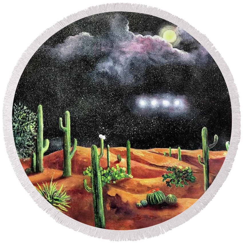 Unknown Round Beach Towel featuring the painting Silence by Randy Burns