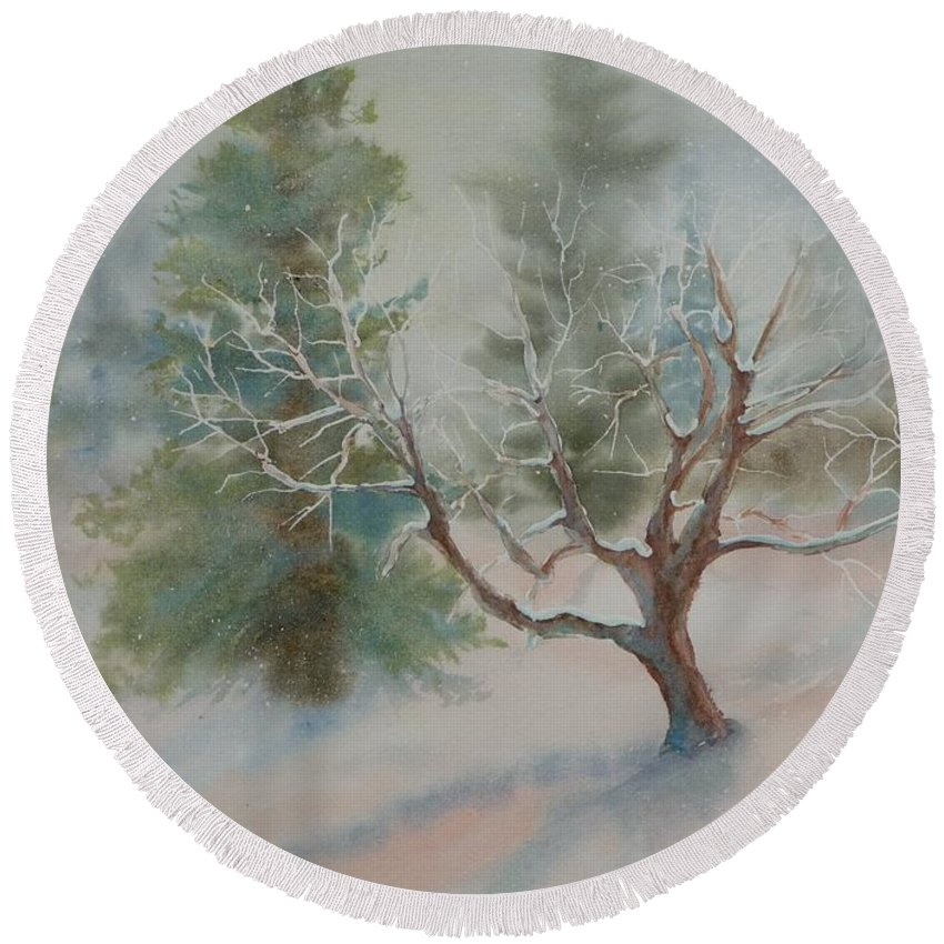 Snow Round Beach Towel featuring the painting Silence by Ruth Kamenev