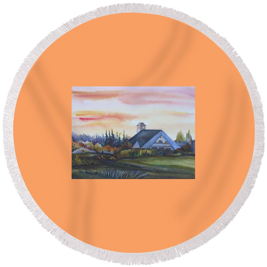 Watercolor Round Beach Towel featuring the painting Silence Upon Midnapore by Anna Duyunova