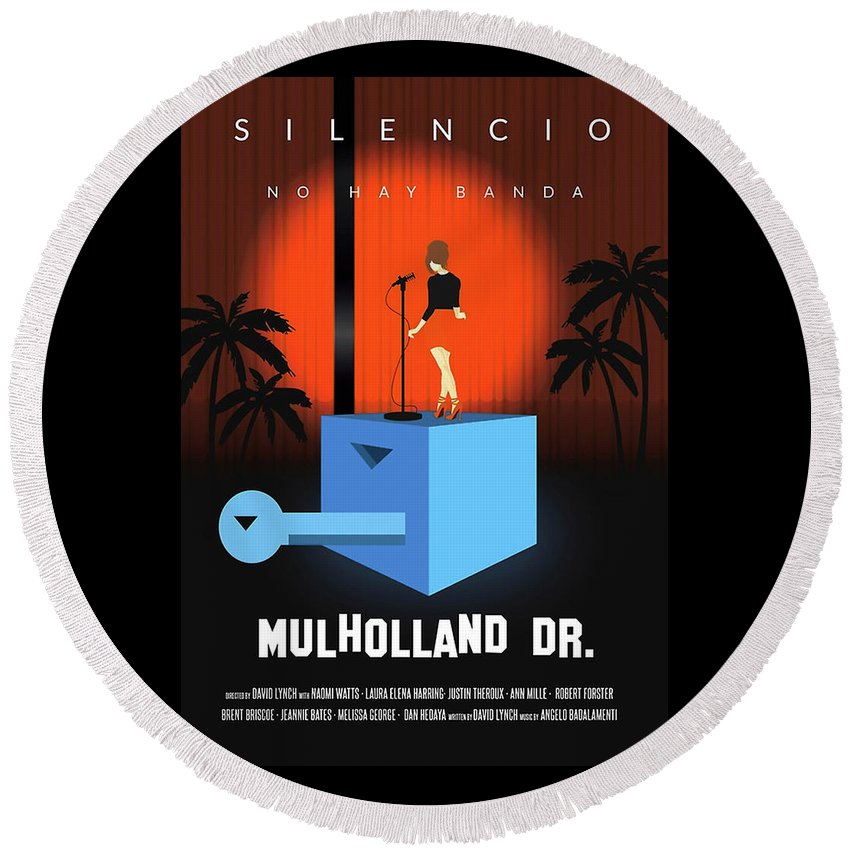 Mulholland Round Beach Towel featuring the digital art Silencio by Ratu Remet