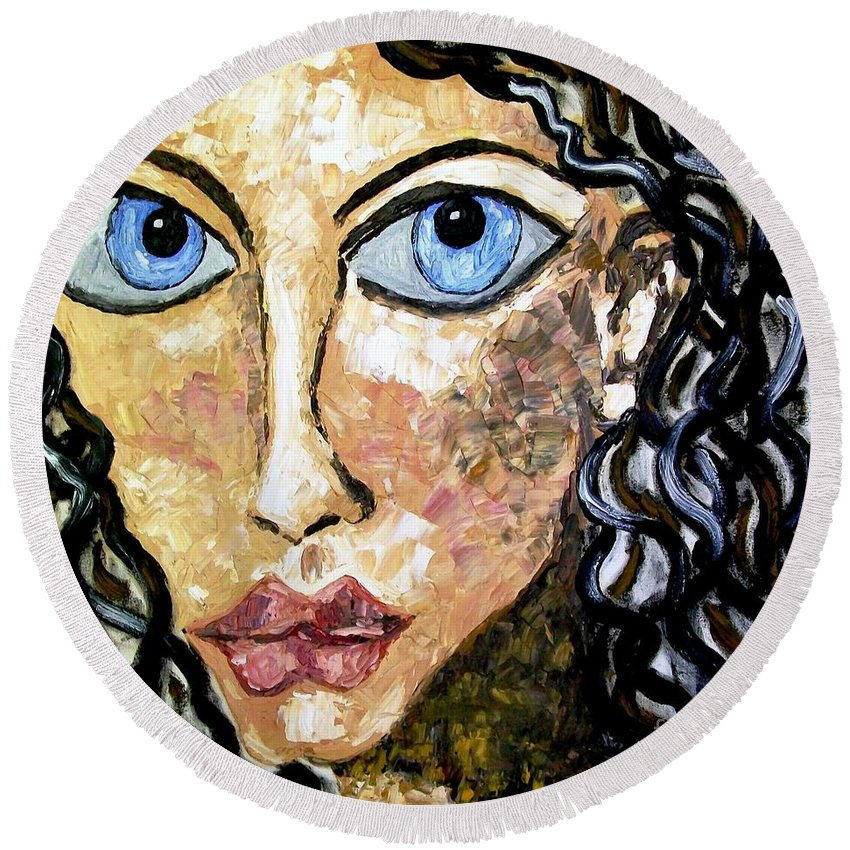 Fareeha Khawaja Round Beach Towel featuring the painting Silent Blue by Fareeha Khawaja