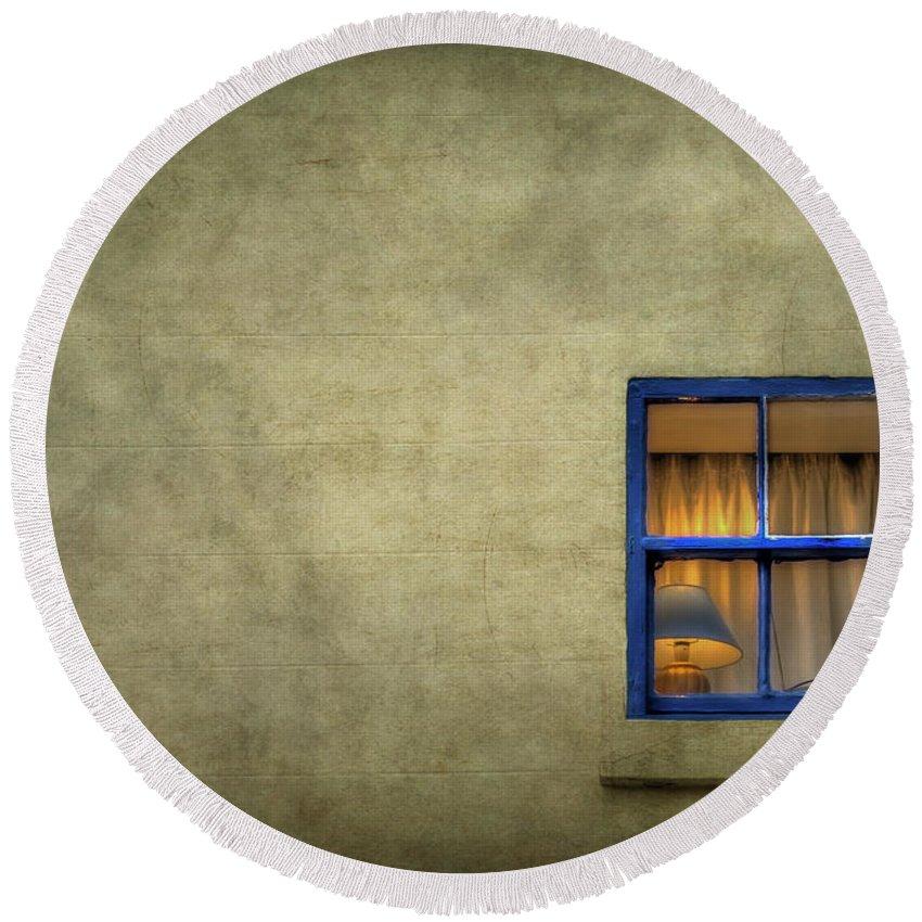 Window Round Beach Towel featuring the photograph Silent I Wait by Evelina Kremsdorf