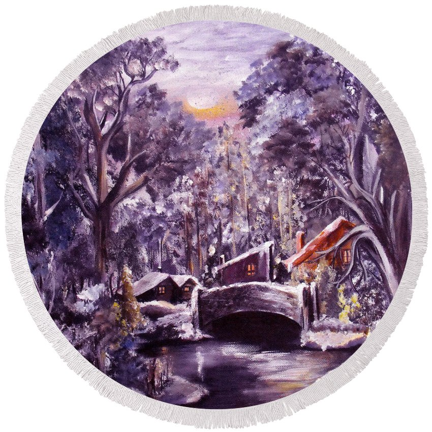 Landscape Round Beach Towel featuring the painting Silent Night by Ruth Palmer