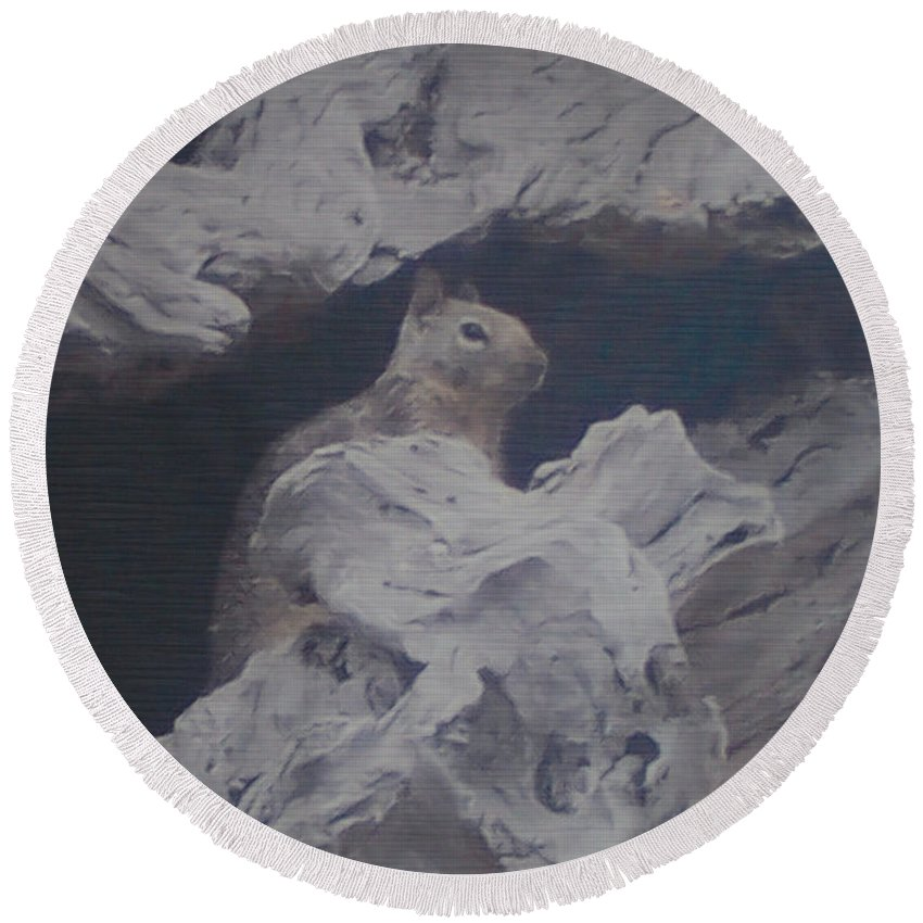 Squirrel Round Beach Towel featuring the photograph Silent Observer by Pharris Art