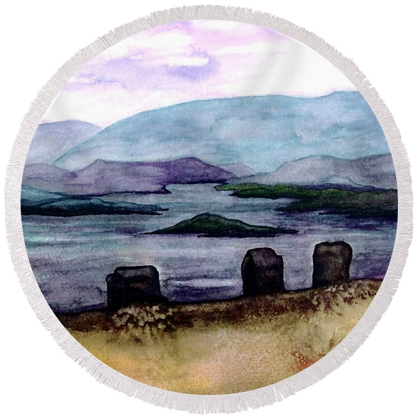 Original Painting Round Beach Towel featuring the painting Silent Sentinels by Patricia Griffin Brett