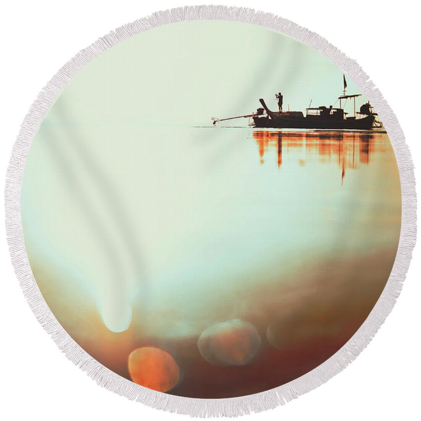 Background Round Beach Towel featuring the photograph Silhouette Of A Thai Fisherman Wooden Boat Longtail During Beautiful Sunrise Thailand by Srdjan Kirtic