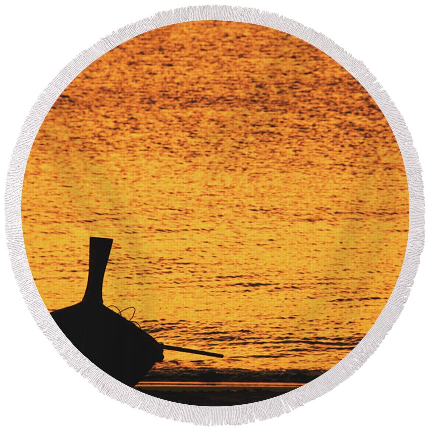 Background Round Beach Towel featuring the photograph Silhouette Of A Thai Wooden Boat On The Beach Against Golden Sunset Koh Lanta, Thailand by Srdjan Kirtic