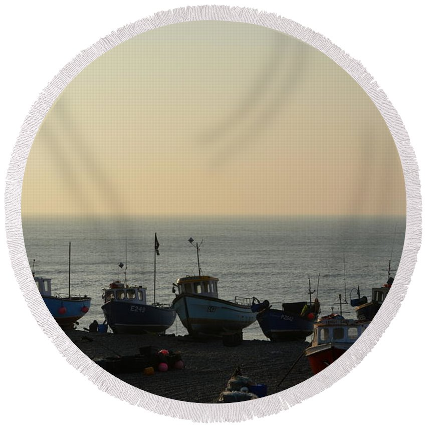 Silhouette Round Beach Towel featuring the photograph Silhouette Of Boats On Beach by Andy Thompson