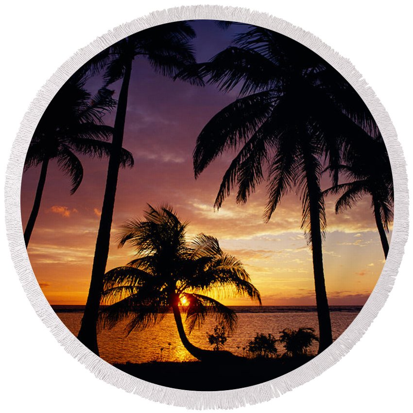 Photography Round Beach Towel featuring the photograph Silhouette Of Palm Tree On The Coast by Panoramic Images