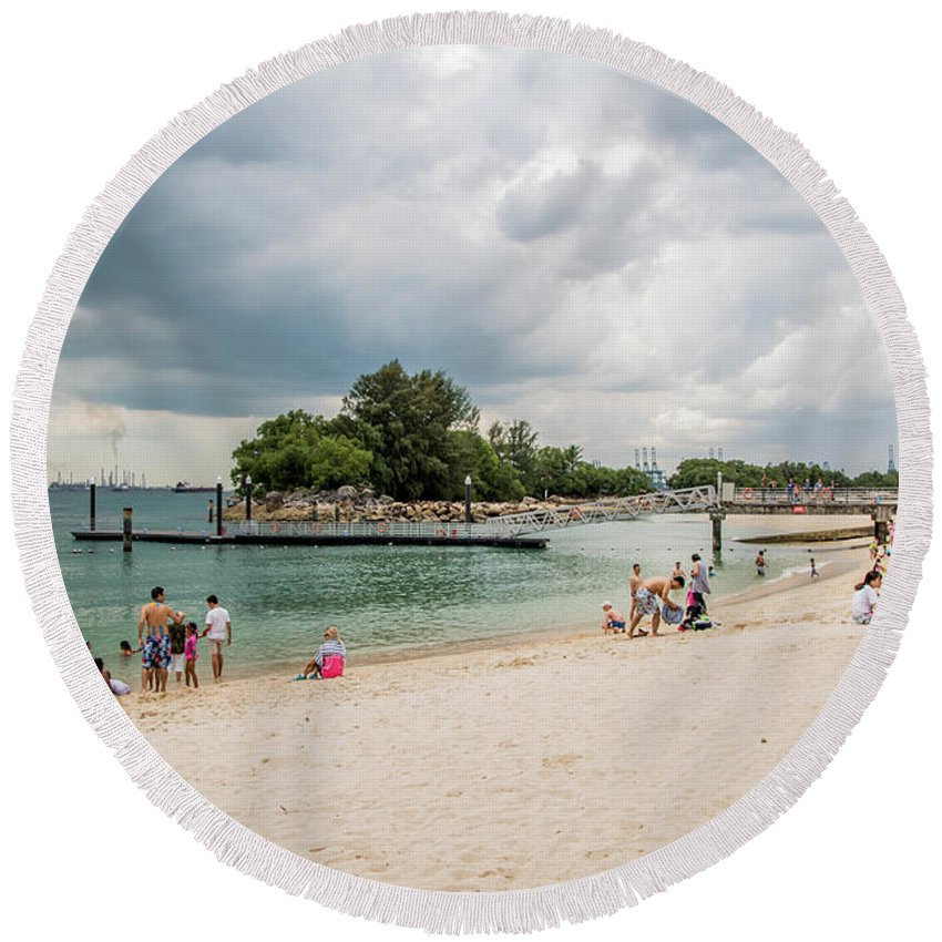 Siloso Round Beach Towel featuring the photograph Siloso Beach by David Rolt